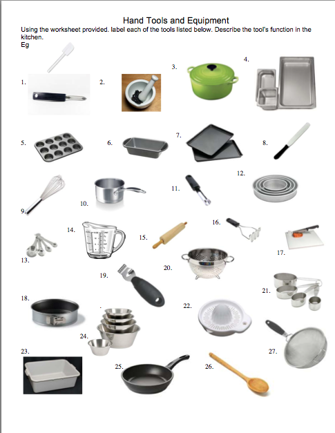 Kitchen Utensils Small Equipment Identification Activity A Chapter